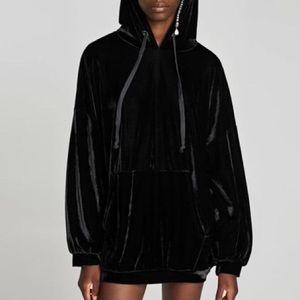 Oversized Crushed Velvet Hoodie Black